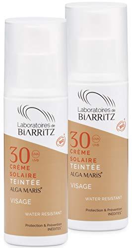2er Pack Alga Maris getönte Sonnencreme Beige fürs Gesicht LSF30 50ml | BIO zertifizierte Naturkosmetik von Laboratoires de Biarritz | mit Sofortschutz und ohne Weißeleffekt