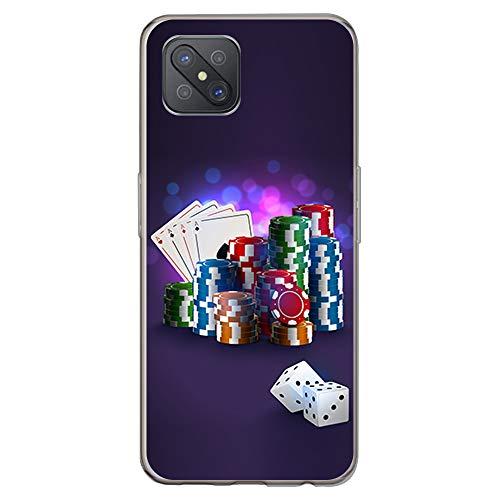 BJJ SHOP Funda Transparente para [ OPPO A92s ], Carcasa de Silicona Flexible TPU, diseño: Fichas de Poker Dados y Cartas
