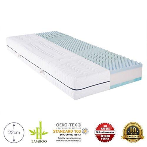 Cr Colchón de espuma reversible, ortopédico y 100 x 200 cm. Espuma de tres capas con cubierta de bambú acolchada, certificación OEKO-TEX 100