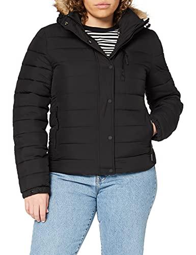 Superdry Womens Classic Faux FUR Fuji Jacket, Black, M (Herstellergröße:12)