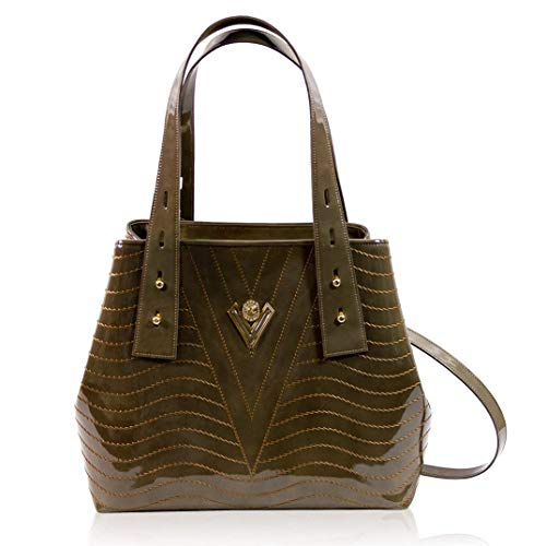 Valentino Orlandi Women's Large Handbag Tote Italian Designer Purse Jasper Green Genuine Leather Top Handle Satchel Crossbody Bag in Cinched Design with Wavy Embroidery