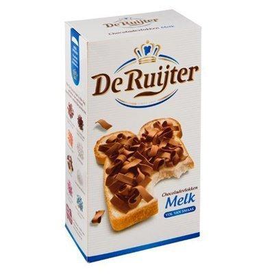 De Ruijter Vlokken Melk (Milk Chocolate Flakes) 2 Box ea are 10.6oz/300gr by De Ruijter