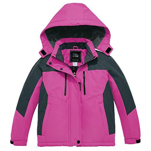 ZSHOW Girls' Waterproof Ski Jacket Warm Winter Snow Coat Fleece Raincoats(Rose Red, 10/12)