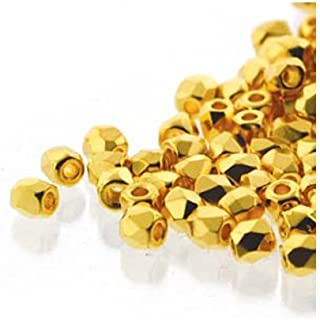 True2 Czech Glass Fire Polished Beads,True 2mm, Faceted Round, 600 Pieces, 24kt Gold Plated Crystal