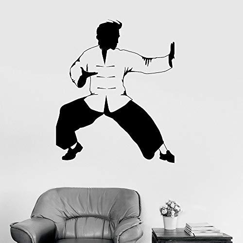 YuanMinglu Kung Fu Vinyl Wandtattoos Büro Kämpfer orientalische Kampfkunst Karate Wandaufkleber Wohnzimmer Übung große Aufkleber 36X42CM