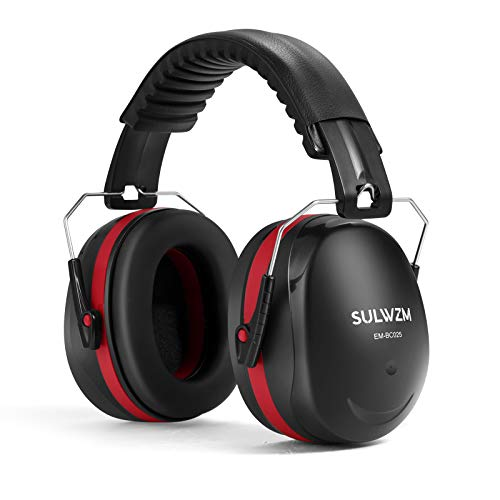 SULWZM Hearing Protection Ear Muffs,NRR 28db Noise Cancelling for Shooting, Mowing, Construction,Red