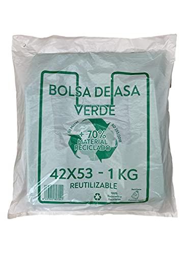 ACESA Bolsas de Plástico Verde Tipo Camiseta Resistentes, Reutilizables y Reciclables,70% Recicladas, Tamaño 42x53 cm 1kg