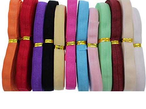 PAMIR TONG 40 Yards 3/8'' 1.0CM Elastic Headband Baby Hair Bow Soft Elastic Cord Elastic Ribbon for Sewing and Other DIY Crafts (Multi-Color)