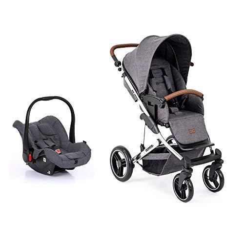 Carrinho de Bebê Abc Design Travel System Merano Diamante Asphalt (com Shopping Bag)