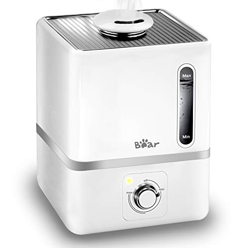 Humidifiers for Bedroom, Bear 3L Cool Mist Humidifier with 360° Nozzle Whisper Quiet Operation Water Level Window Last up to 24H Working Auto Shut-Off Small Humidifier with Essential Oil Tray White