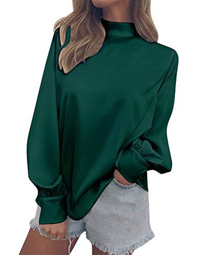 Minetom Camicetta Donna Chiffon Blusa Camicia Elegante Maglia Manica Lunga Casual Moda Autunno Collo Alto Tinta Unita Tops Verde IT 46