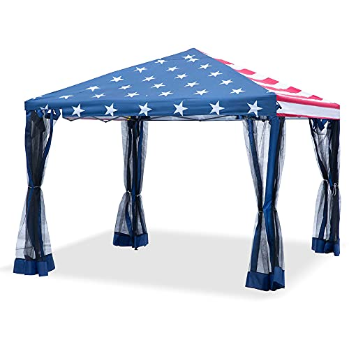 Outsunny 10' x 10' Heavy Duty Pop Up Canopy with Removable Mesh Sidewall Netting, Easy Setup Design, Outdoor Party Event with Storage Bag, American Flag