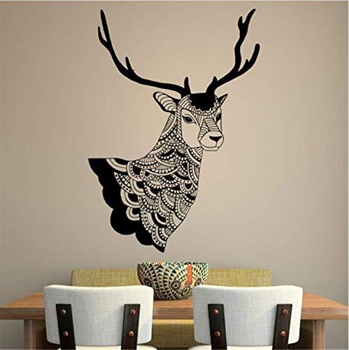 Qthxqa Deco Tribale Cervo Art DesignCasa Soggiorno Sfondo Adesivi Murali Decorativi Animal Vinyl Wall Sticker 58 * 42
