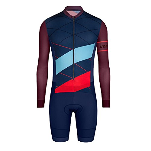 Uglyfrog Designs Men's Triathlon Tri Suit/Suit Long Sleeve Top+Short Legs Quick Dry Cycling Skinsuit - Triathlon Race Suit with Extended Zippers Breathable & Durable Cycling Speedsuit