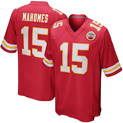 Majestic Athletic NFL Football Kansas City Chiefs 15# MAHOMES T-Shirt Jersey Bequem und Atmungsaktiv Trikot,Men-XL