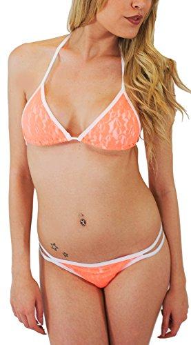 Millennium Star Ibiza - Baador de tringulo con encaje naranja 100 % fabricado en Italia, talla S