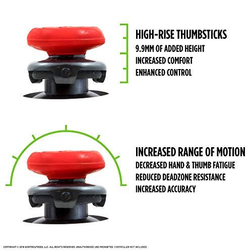 2 قطعة من إف بي إس فريك إنفيرنو لإصبع الإبهام لتحسين الأداء على يد التحكم للبلاي ستيشن 4 (بلاي ستيشن 4) من كونترول فريك| 2 قطعة مقعرة مرتفعة | باللون الأحمر