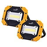 sunzone Portable LED Work Light, COB Flood Lights, Job Site Lighting, Super Bright Waterproof for Outdoor Camping Hiking Car Repairing Fishing Workshop Battery Included with Emergency SOS Model