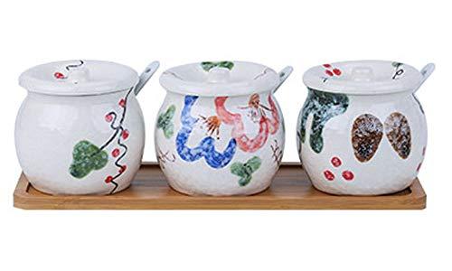 3-Piece Set Tarro estilo japonés Cerámica de cocina de especias con