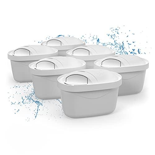Wessper Classic Wasserfilter 6er Pack,passend Für Britta Wasserfilter Kartuschen Brita Maxtra Plus, Bpa Frei, 4-stufiges Filtersystem, Mit Adapter Fur Die Neue Brita Kanne