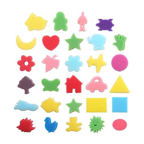 Juego de pinceles de pintura de esponja kit de dibujo de pinceles de 30 piezas para ni/ños que pintan con pinceles de espuma de esponja y delantales impermeables Ni/ños peque/ños Artesan/ía de bricolaje