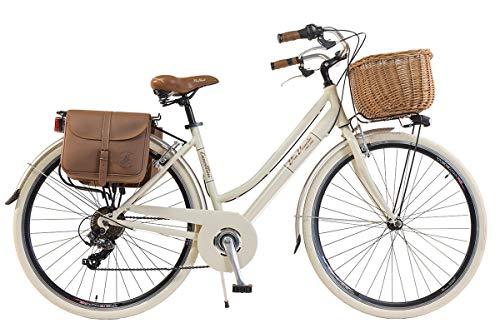 Via Veneto by Canellini Bicicletta Bici Citybike CTB Donna Vintage Retro Via Veneto Alluminio (Panna, 46)
