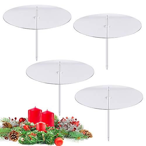 FHzytg Kerzenhalter Adventskranz, 8cm Kerzenteller Adventskranz Kerzenhalter für Adventskranz Kerzenteller mit Dorn, Kerzenhalter mit Dorn Kerzenhalter Stecker für Adventskranz