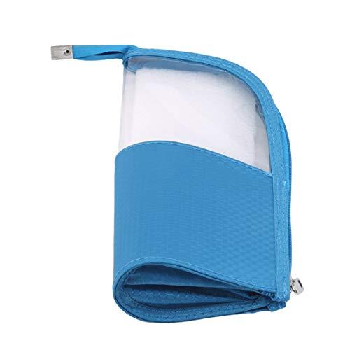 Kissherely Portable Semi-Circulaire Transparent Maquillage Sac Trousse de Toilette Voyage Sacs de Lavage pour Femmes Fille Dames,Bleu
