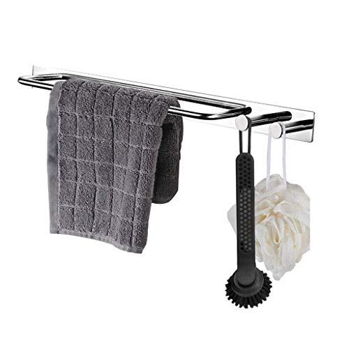 LYMJJ Toalla de soporte de barra con gancho de la suspensión, no profundizar auto adhesivo toalla de mano titular bar, baño cocina moderna del acero inoxidable de la barra de toalla del estante del so