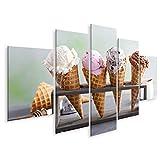 Bild Bilder auf Leinwand Sorte Eistüten Kugeln Schokolade