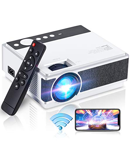 Mini Projector,Wevivi 1080P Projector with Sync Smartphone Screen ,5500Lux WiFi Projector with 50000H Lamp Life,Portable Projecto for him