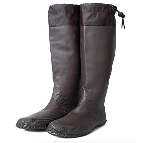 [HUGOO] レインブーツ 梅雨 折りたたみ 長靴 メンズ レディース キッズ レインシューズ パクト収納 【5カラー / 23cm~27cm 対応】 (ブラウン, measurement_26_point_0_centimeters)
