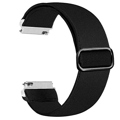 Panrock 20mm/22mm Watch Band, Adjustable Stretchy Watch Band Elastic Replacement Strap for Women Man (Black, 20mm)