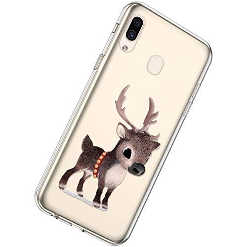 Herbests Kompatibel mit Samsung Galaxy A40 Silikon Hülle Bunt Weihnachtsbaum Muster Durchsichtige Handyhülle Kristall Klar Schutzhülle Crystal Clear Transparent Hüllen,Braun Hirsch