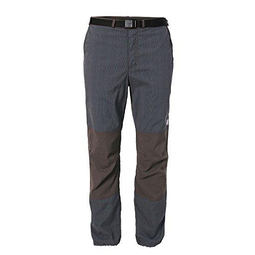 REJOICE Boulderhose Hemp Stretch Kletterhose für Damen und Herren – Elastisches Material für bewegungsfreies Bouldern, Klettern, Trekking und Wandern - Grau kariert - L