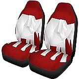 Fundas de asiento de coche Elefante de origami blanco sobre polígono rojo Conjunto de 2 protectores de animales geométricos en blanco