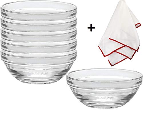 Duralex Lys Stackable Glass Bowls with a Polishing Cloth