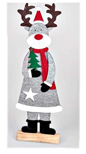 Deko Weihnachten und Winter Große Weihnachtliche Elch Figur auf Holz-Sockel 80cm für Hauseingang und Türh