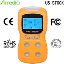 AirRadio Portable Gas Detector, Gas Clip 4-Gas Monitor Meter Tester Analyzer, Rechargeable LCD Display Sound Light Shock Air Quality Tester, 2-Year Detector in Lab Gas Handling Instruments