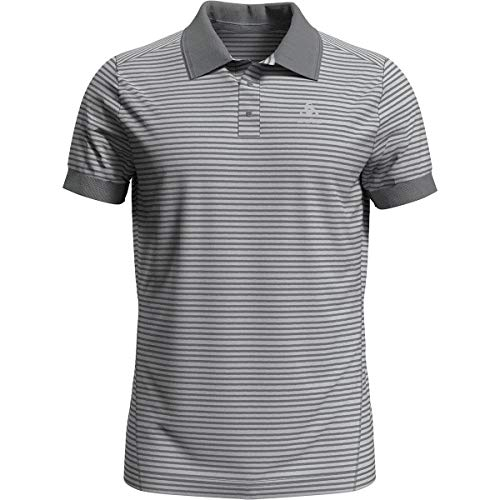 Odlo Herren Poloshirt Polo shirt s/s NIKKO DRY, odlo concrete grey - odlo silver grey - stripes, XL, 550062_70781_XL