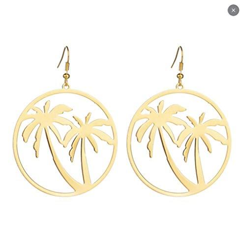 MXHJD Pendientes colgantes de palmera de coco tropical para mujer, pendiente grande exagerado, pendientes geométricos de acero inoxidable, regalo
