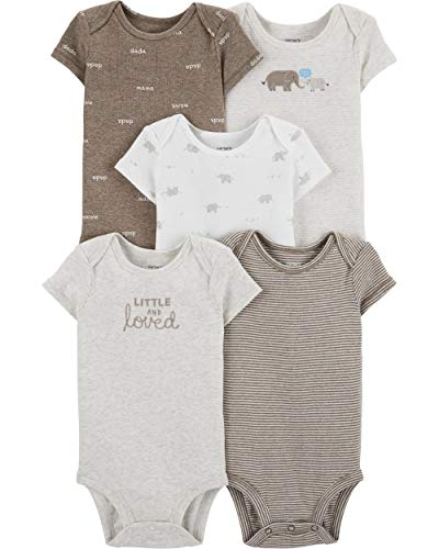 Carter's Baby Boys 5 Pack Bodysuit Set, Elephant, 3 Months