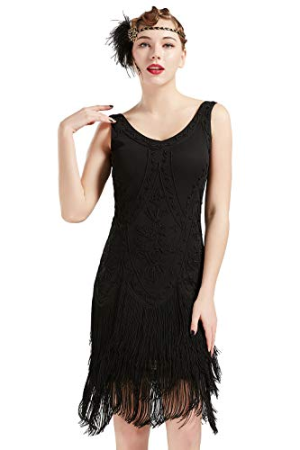 Coucoland 1920s Kleid Damen Flapper Kleid ohne Ärmel V Ausschnitt Knielang Charleston Kleid Gatsby Motto Party Damen Fasching Kostüm Kleid (Schwarz, XL (Fits 91-97 cm Waist))
