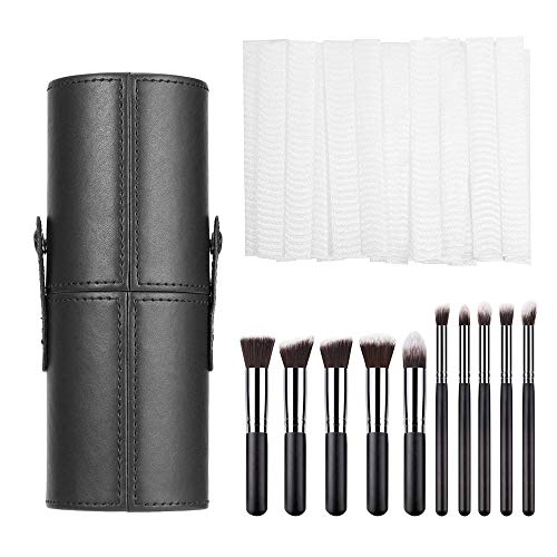 EKdirect Makeup Pinsel Set, 10 Stück Kosmetikpinsel mit PU Leder Make Up Pinsel Halter und 20...