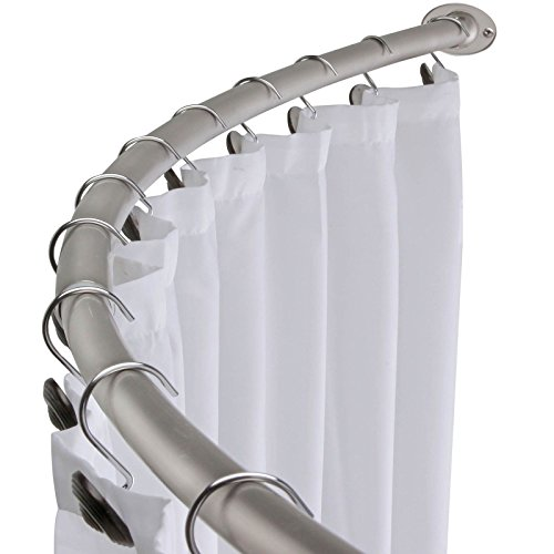 "58"" - 72"" Adjustable Curved Shower Curtain Rod - Satin Nickel"