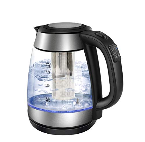 Electric Kettle 17L with Tea Infuser1500W Fast Boiling Glass Water Boiler amp Tea Heater Temperature Control with LED IndicatorAuto ShutOff amp BoilDry Protection