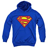 Superman Logo S Shield Kids Youth Pullover Hoodie & Stickers, Medium