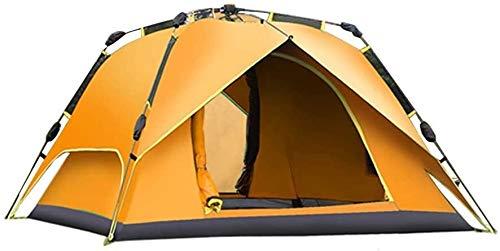 Laz, tienda de campaña de doble capa engrosada para 3 – 4 personas, automática de movimiento rápido, cuatro estaciones para acampar al aire libre, refugio solar (color: naranja, tamaño: 230 cm)