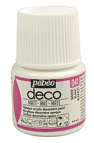 Pébéo 204041 Déco Acrylique Mat 1 Flacon Blanc 45 ml