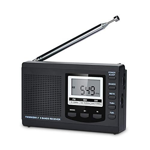 Songway Banda Completa Am FM SW DSP Radio Altavoz estéreo Pantalla LCD Reloj Despertador Temporizador de sueño Radio de Bolsillo Demodulación Digital La Mejor recepción con Antena telescópica (Black)